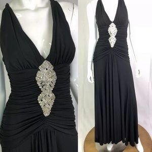 Cache Ruched Embellished Maxi Evening Dress